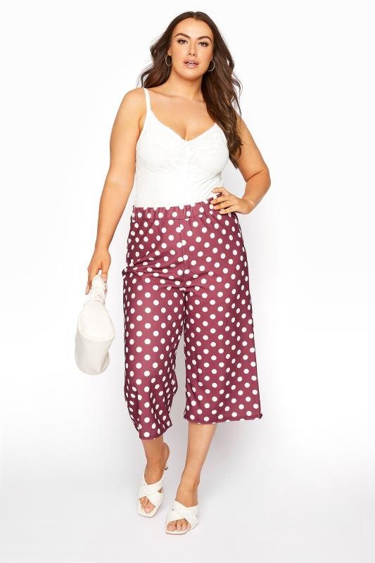 Plus Size  YOURS LONDON Brick Red Polka Dot Wide Leg Culottes