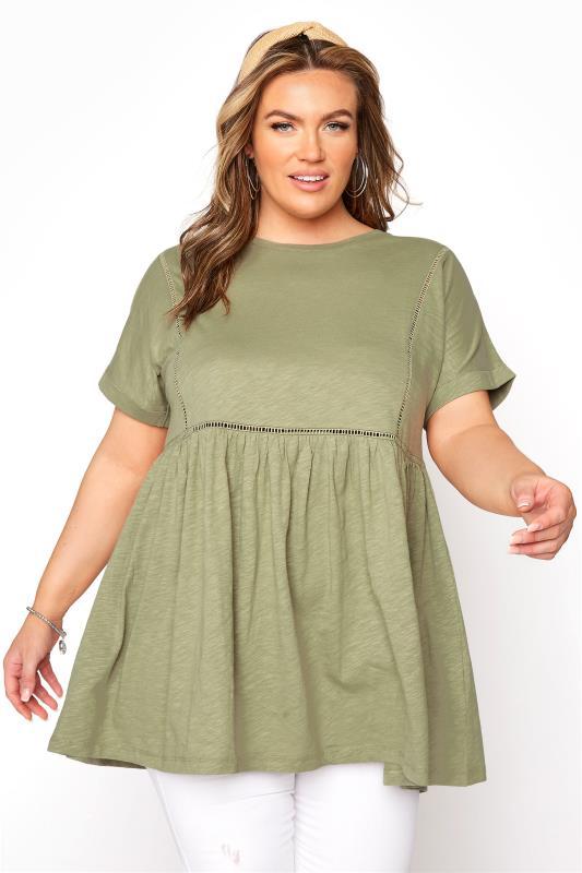 Plus Size  Khaki Ladder Lace Peplum T-shirt