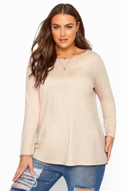 Plus Size Long Sleeve Tops Beige Marl Scoop Neck Top