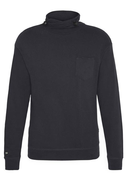 Plus Size Casual / Every Day BLEND Navy Funnel Neck Sweatshirt