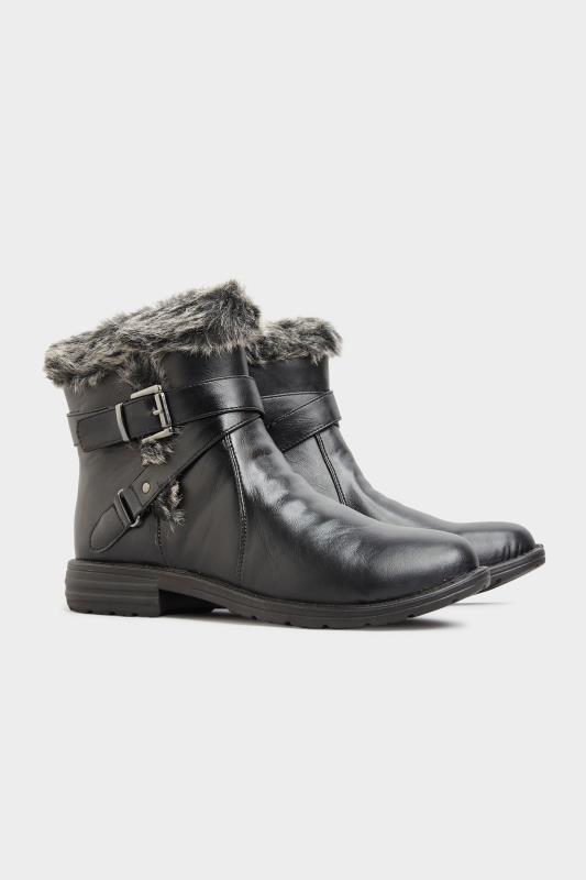 Black Vegan Faux Leather Buckle Ankle Boots In Wide Fit_B.jpg