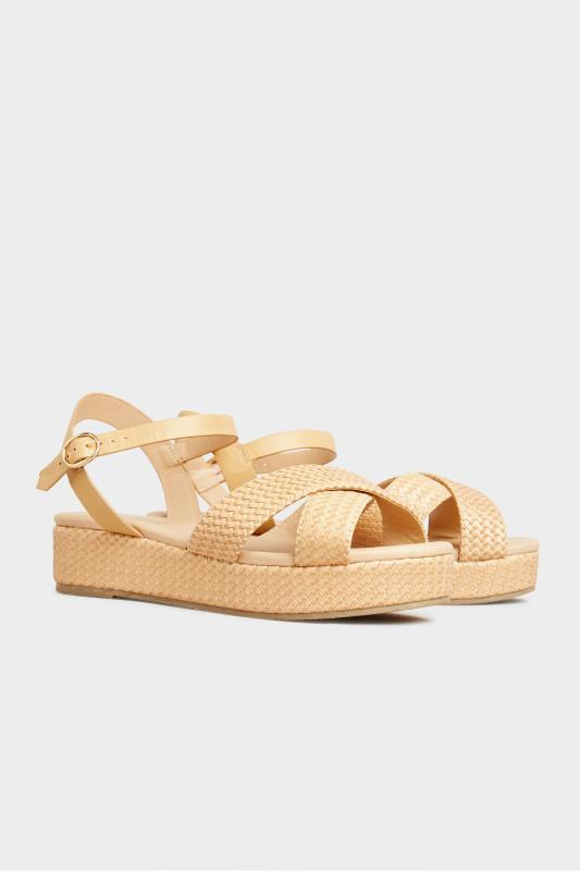 LIMITED COLLECTION Tan Weave Platform Sandal In Extra Wide Fit_B.jpg