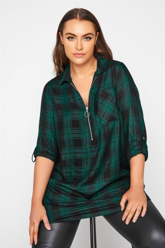 Plus Size  Forest Green Zip Check Shirt