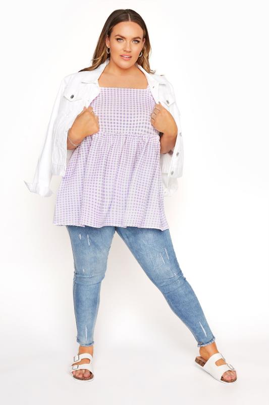 LIMITED COLLECTION Lilac Gingham Milkmaid Top_B.jpg