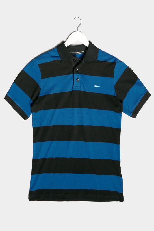 Men's  BadRhino Blue & Black Striped Polo Shirt