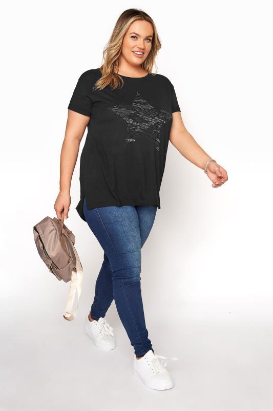 Black Stud Embellished Dipped Hem T-Shirt_B.jpg