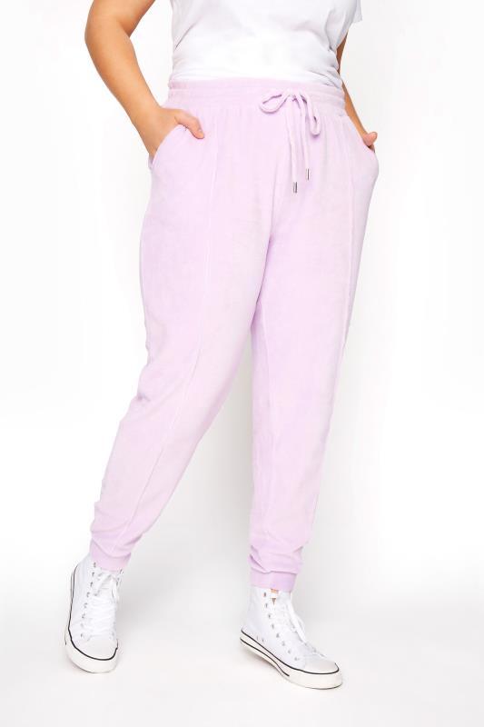 Plus Size  Lilac Velour Joggers