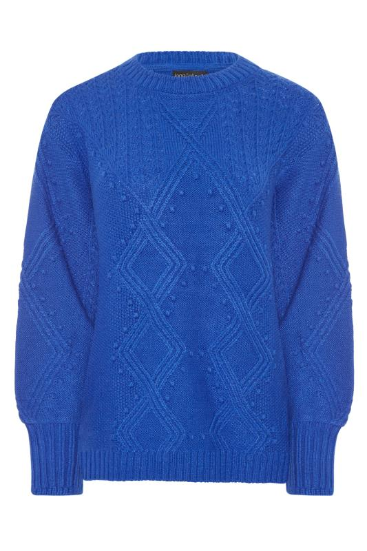 Blue Bobble Cable Knitted Jumper