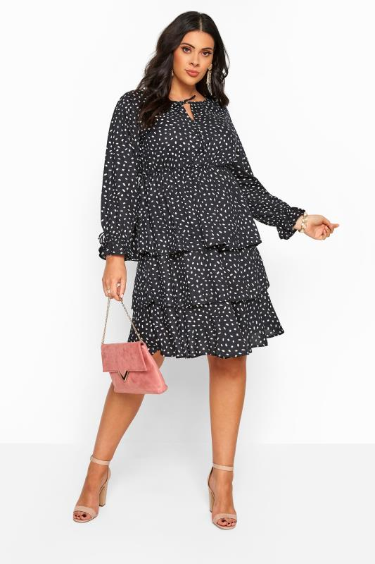Black Dalmatian Print Tiered Dress