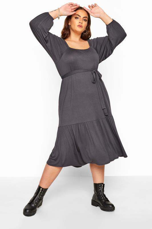 Plus Size Jersey Dresses LIMITED COLLECTION Charcoal Grey Square Neck Tiered Midi Dress