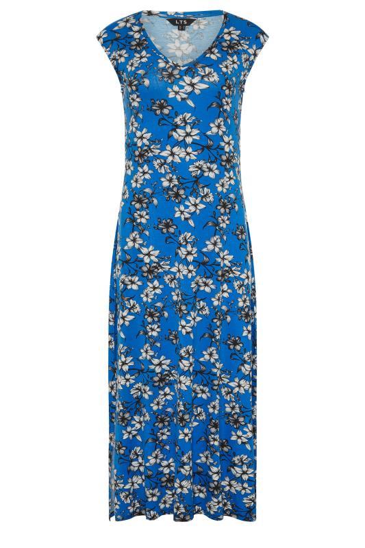 LTS Blue Floral Print V-Neck Midi Dress_F.jpg