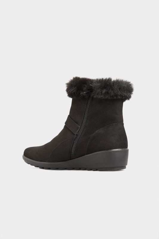 Black Vegan Suede Wedge Heel Buckle Ankle Boots In Extra Wide Fit_C.jpg