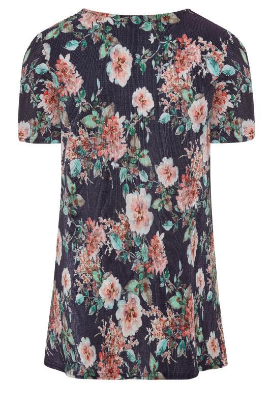 Navy Floral Print Short Sleeve Top_BK.jpg