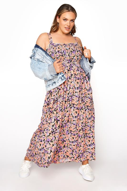 Großen Größen  LIMITED COLLECTION Peach Floral Shirred Bust Strappy Dress