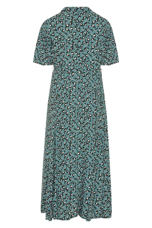 THE LIMITED EDIT Teal Leopard Print Shirt Maxi Dress_BK.jpg