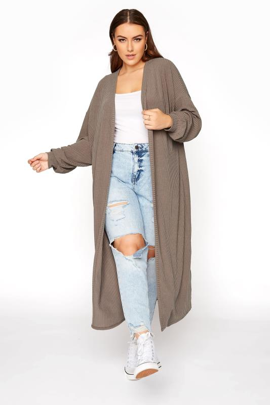 LIMITED COLLECTION Mocha Ribbed Long Cardigan_A.jpg