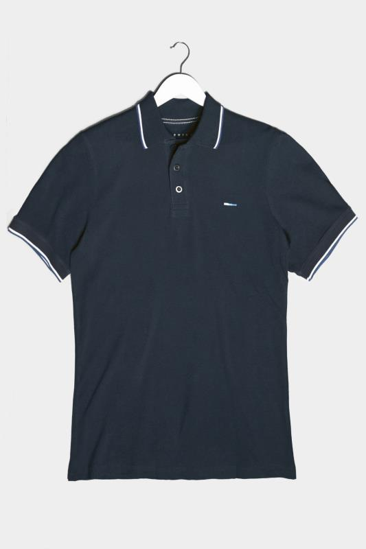 BadRhino Navy Essential Tipped Polo Shirt