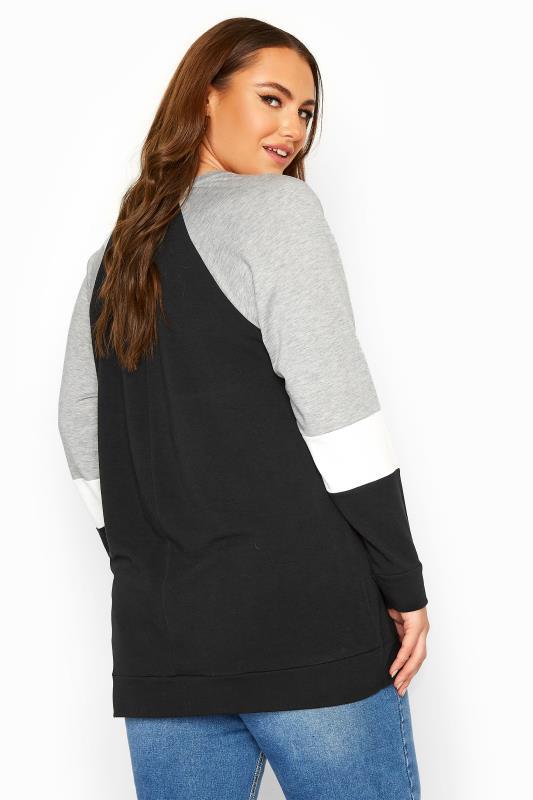Grey & White Colour Block Sweatshirt