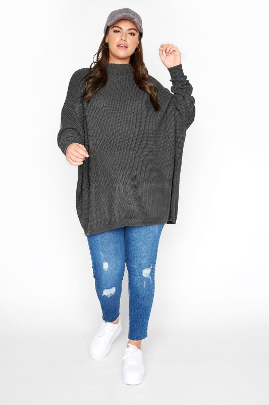 Charcoal Grey Oversized Knitted Jumper