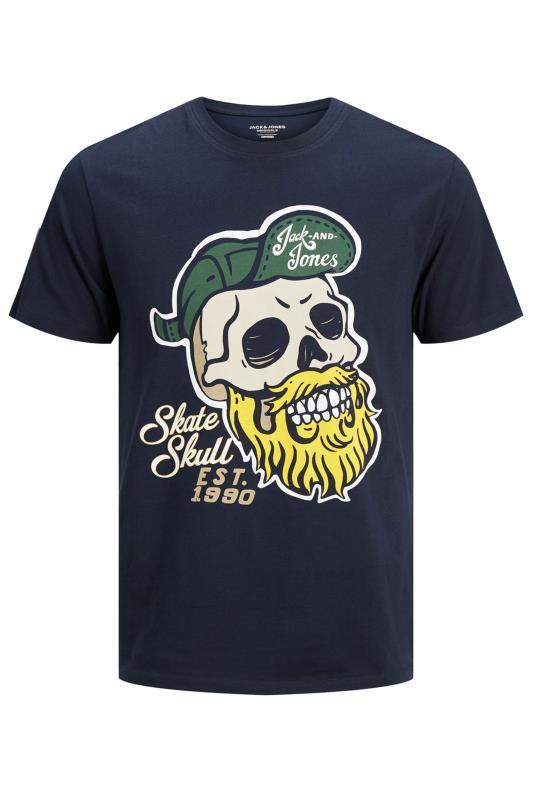 JACK & JONES Navy Skull Graphic Print T-Shirt