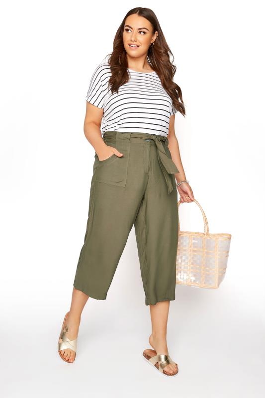 Plus Size  Khaki Belted Cropped Trousers