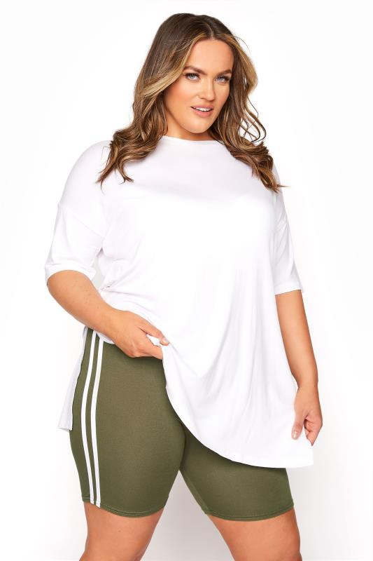 Plus Size  Khaki Side Stripe Cycle Shorts