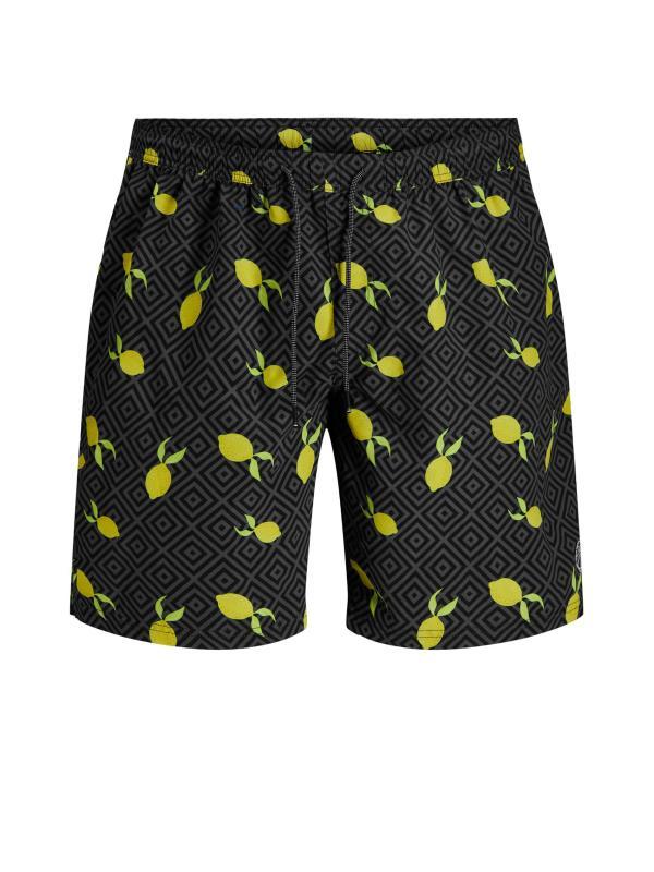 Men's  JACK & JONES Black Lemon Bali Swimshorts