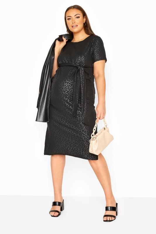 BUMP IT MATERNITY Black Animal Print Belted Midi Dress