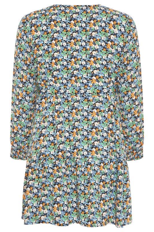 LIMITED COLLECTION Blue Floral Wrap Mini Dress_BK.jpg