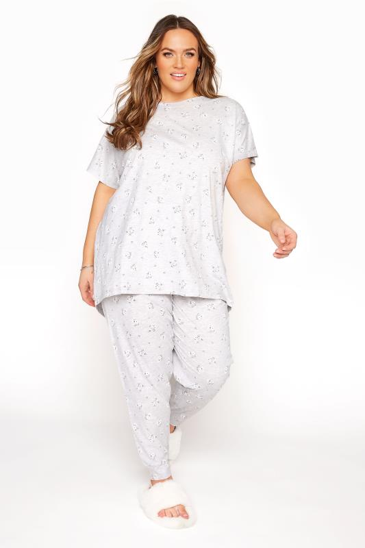 Grey Ditsy Grown-On Sleeve Pyjama Set