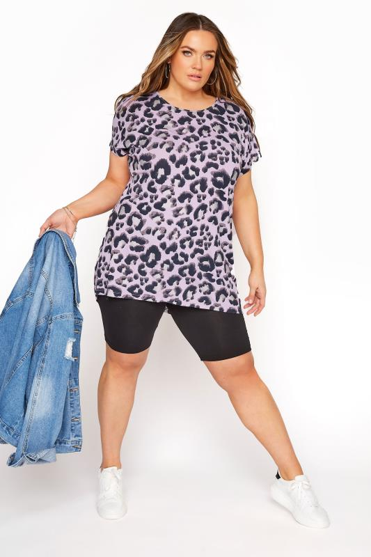 Lilac Leopard Print Grown On T-Shirt