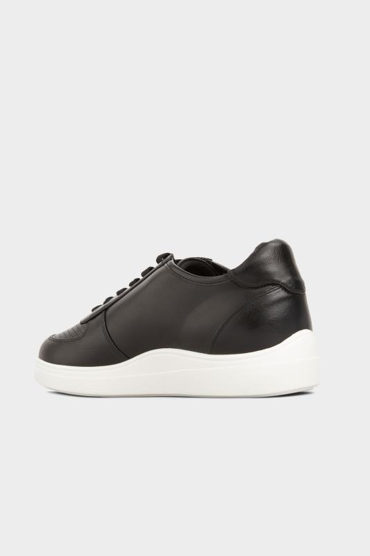 Black Vegan Leather Lace Up Trainers In Extra Wide Fit_C.jpg