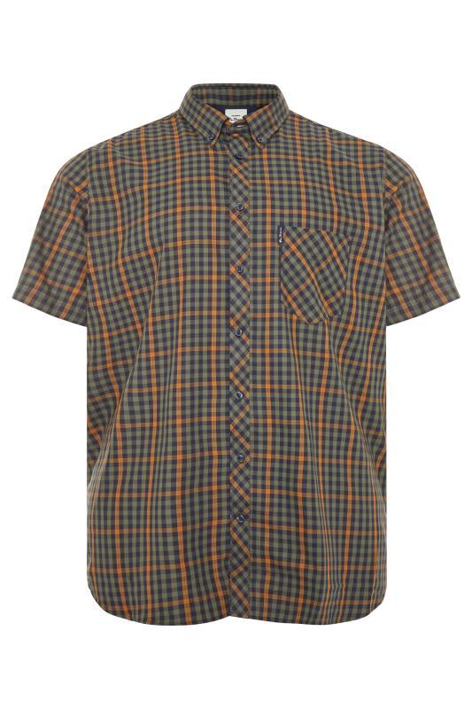 Plus Size  BEN SHERMAN Green Check Short Sleeve Shirt