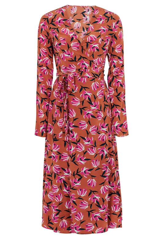 Brown Floral Print Wrap Midi Dress_F.jpg