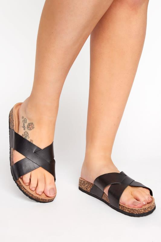 Black Cross Strap Sandals In Extra Wide Fit