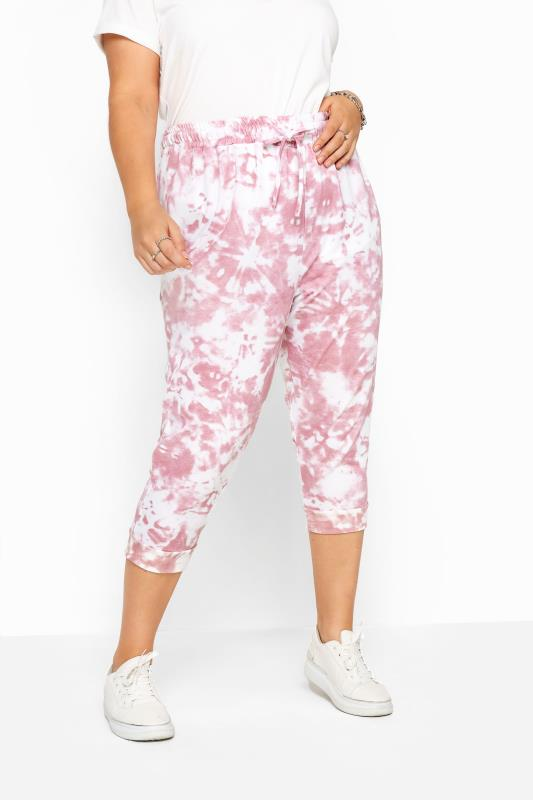Pink Tie Dye Cropped Joggers