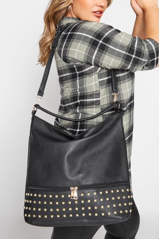 Black Stud Detail Shoulder Bag