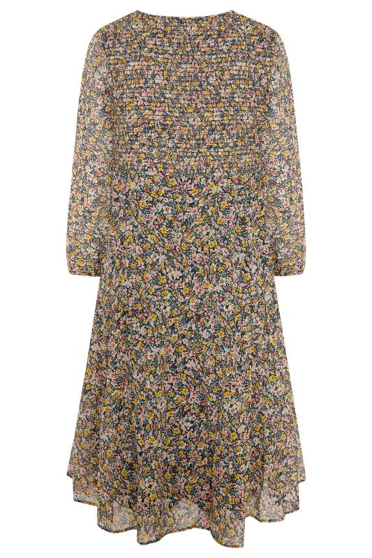 Navy Floral Shirred Midi Dress_BK.jpg