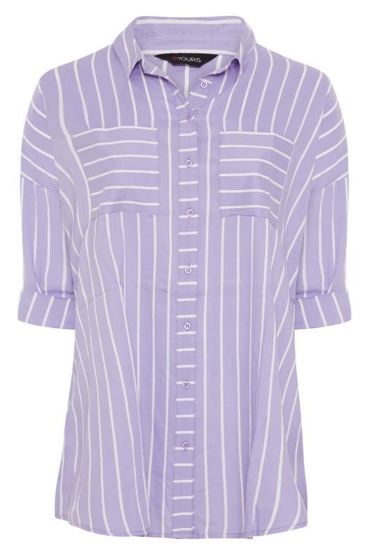 Lilac Striped Oversized Drop Shoulder Shirt_F.jpg