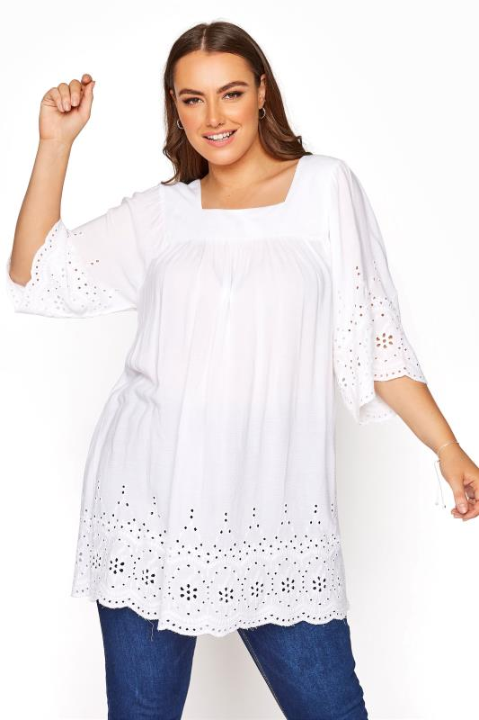 Plus Size  White Square Neck Broiderie Anglaise Top