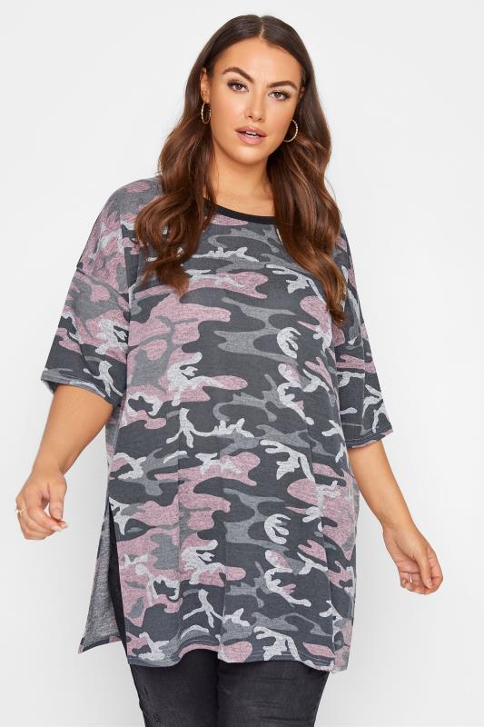 Plus Size  Black & Pink Camo Oversized T-Shirt