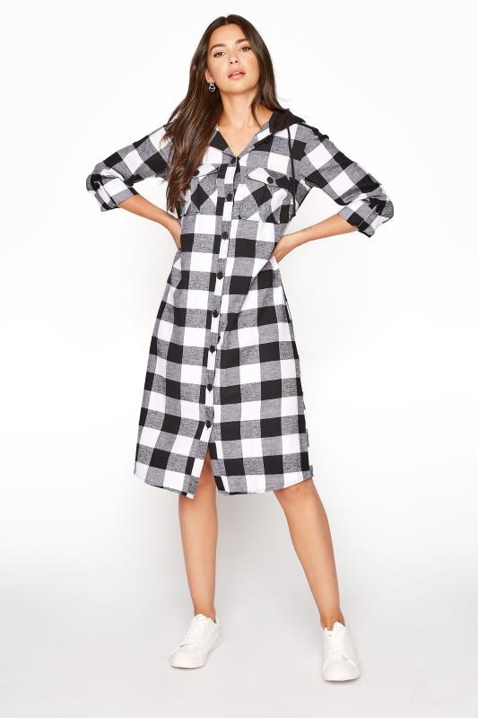 Tall  LTS Black Check Longline Hooded Shirt
