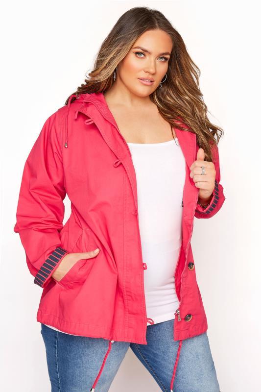 Plus Size  Pink Contrast Parka Jacket