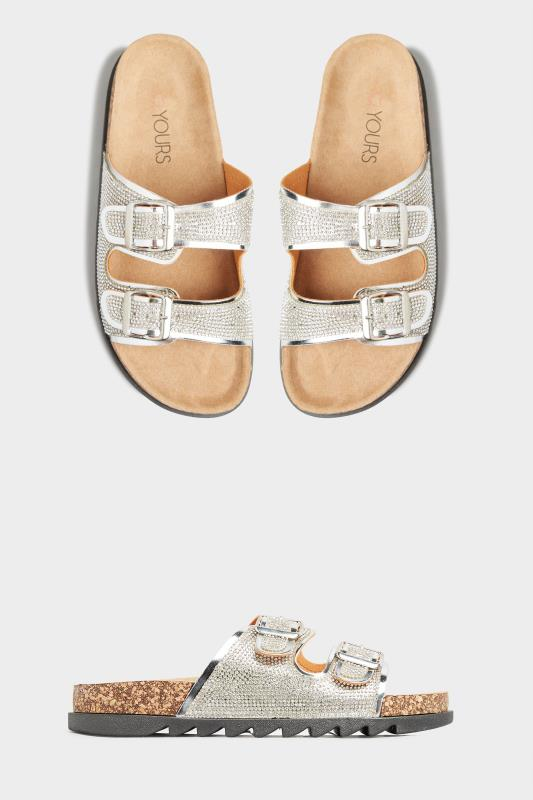 Silver Sparkle Footbed Sandal In Wide Fit_A.jpg