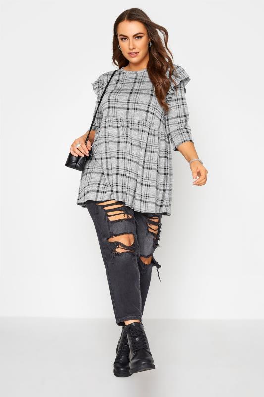 Grey Check Frill Knitted Peplum Top_B.jpg