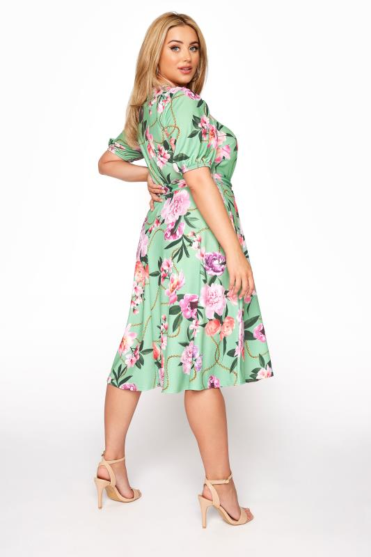 YOURS LONDON Green Floral Chain Print Puff Sleeve Skater Dress_C.jpg