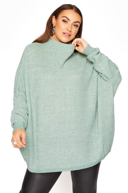 Großen Größen  Mint Oversized Knitted Jumper