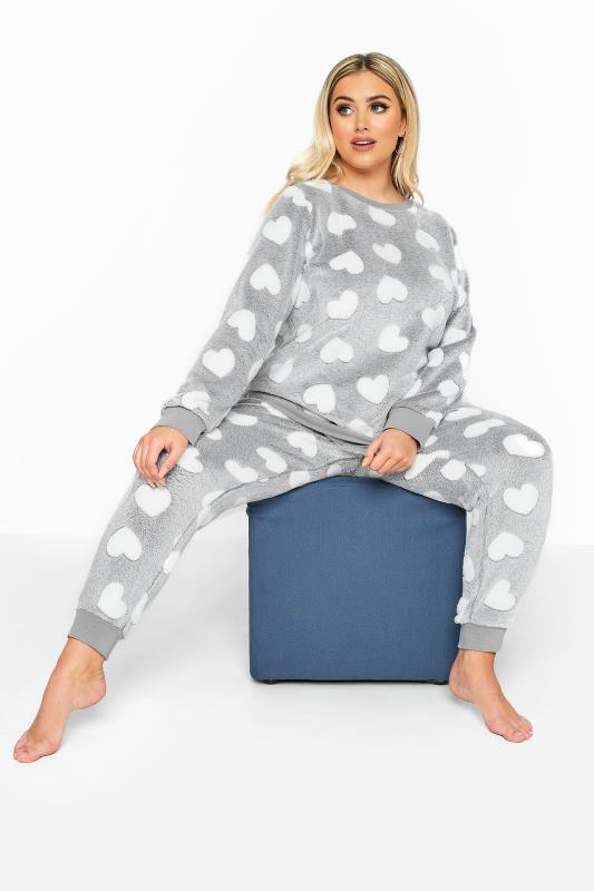 Plus Size  Grey Heart Fleece Lounge Set
