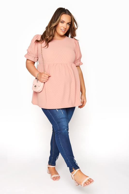 BUMP IT UP MATERNITY Pink Dobby Puff Sleeve Smock Top_B.jpg