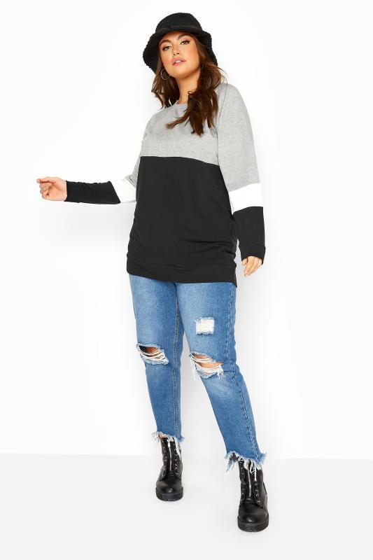Sweatshirt met kleurvlakken in grijs-wit